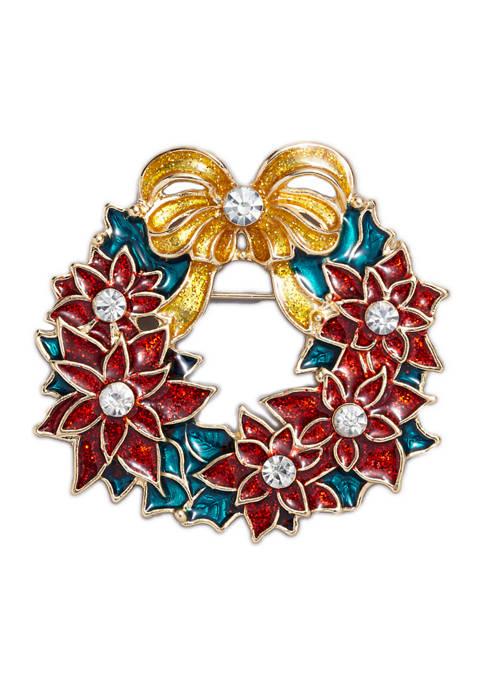 Crystal Poinsettia Wreath Pin
