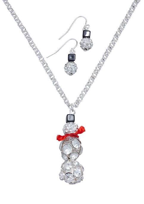 Fireball Snowman Necklace and Earring Set