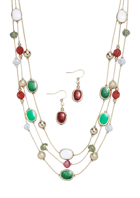 Holiday Necklace and Earrings Set