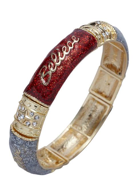 Gold Tone Crystal Believe Bracelet