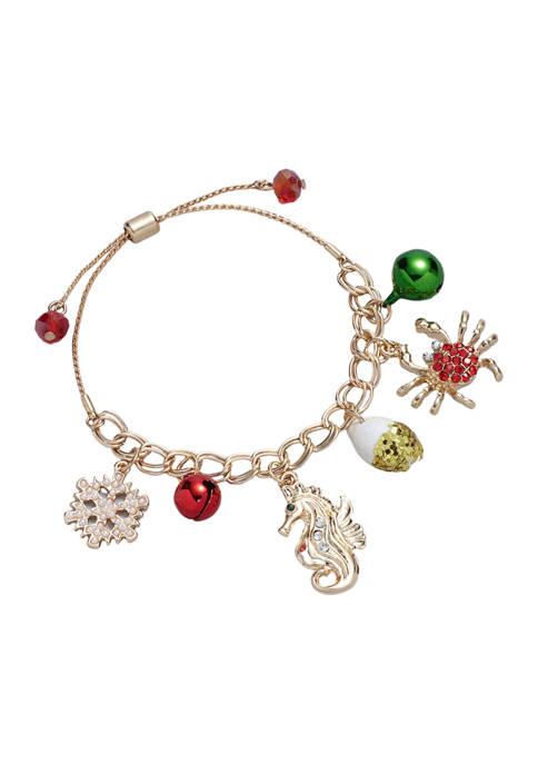 Gold Tone Sea Charm Bracelet