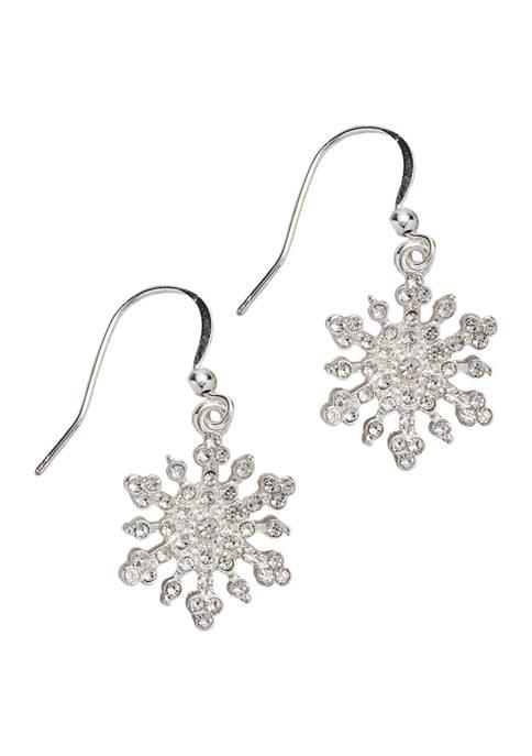 Silver Tone Crystal Snowflake Earrings