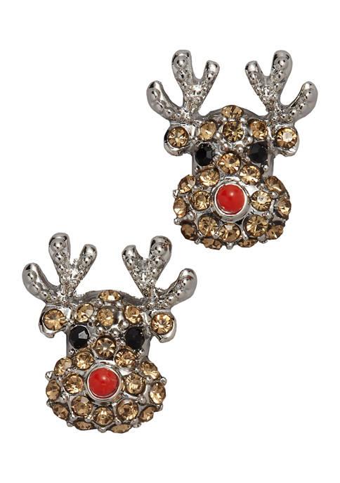 Pavé Stone Reindeer Earrings