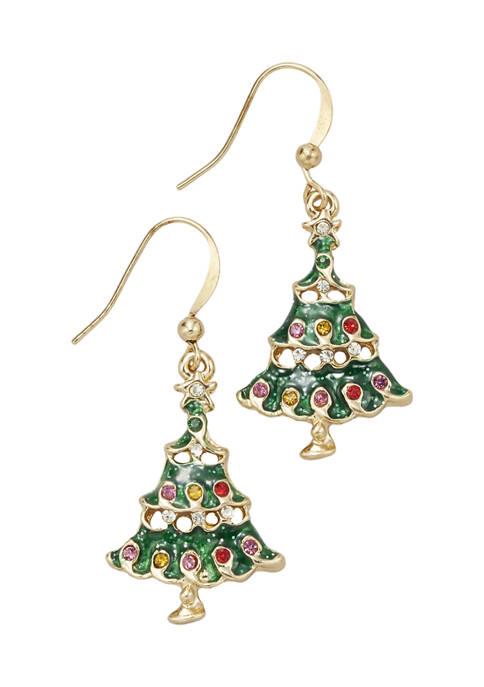 Gold Tone Christmas Tree Drop Earrings