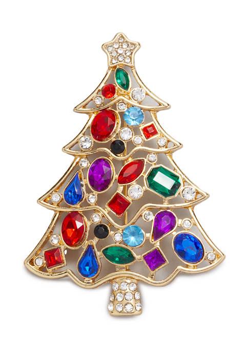 Gold-Tone Multi-Stone Christmas Tree Pin