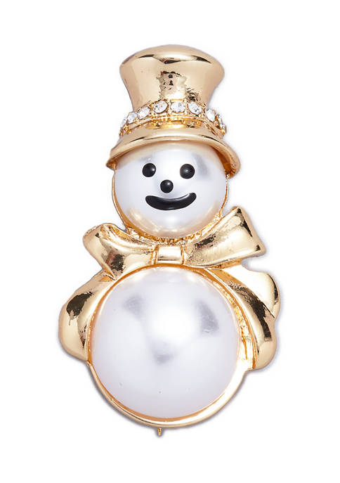 Gold Tone Crystal and Pearl Snowman Pin