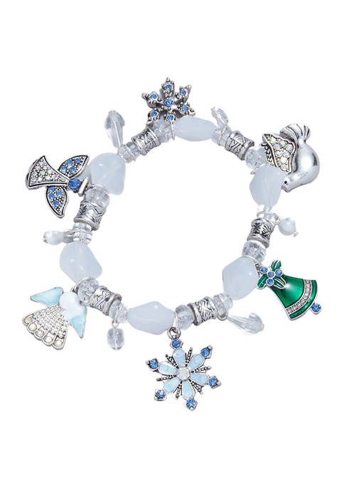 Rhodium Plated Crystal Snowflake Angel Stretch Bracelet