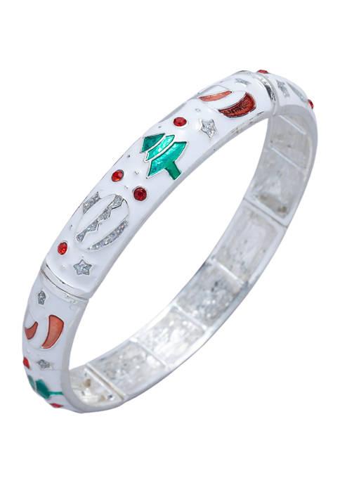 Rhodium Plated Christmas Symbols Bracelet