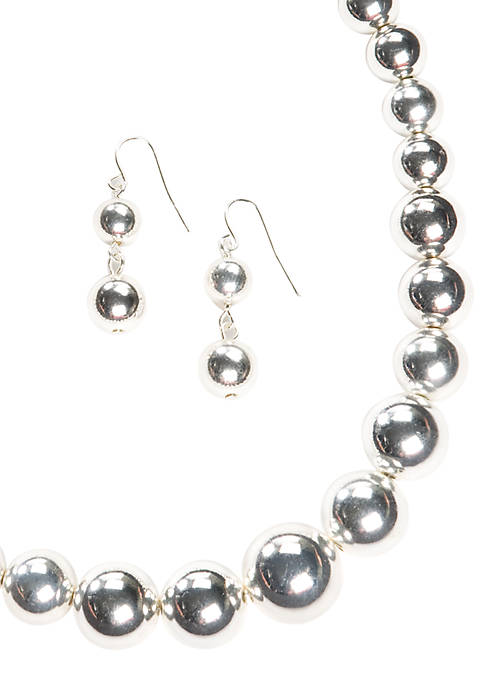 Silver-Tone Graduated Bead Necklace & Earring Set