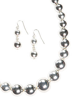 Kim Rogers® Silver-Tone Graduated Bead Necklace & Earring Set