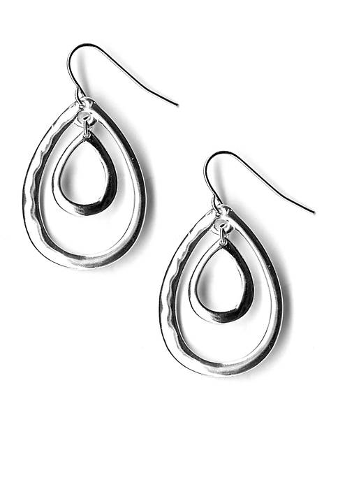 Kim Rogers® Silver Tone Sensitive Skin Double Teardrop