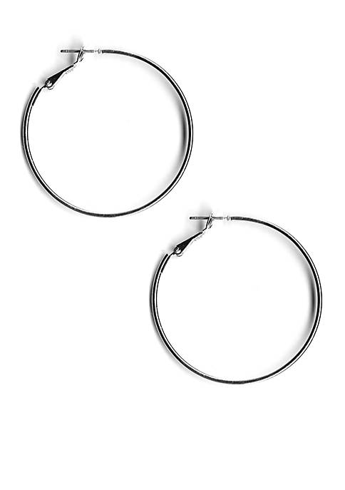 Silver Tone Sensitive Skin Large Hoop Earrings