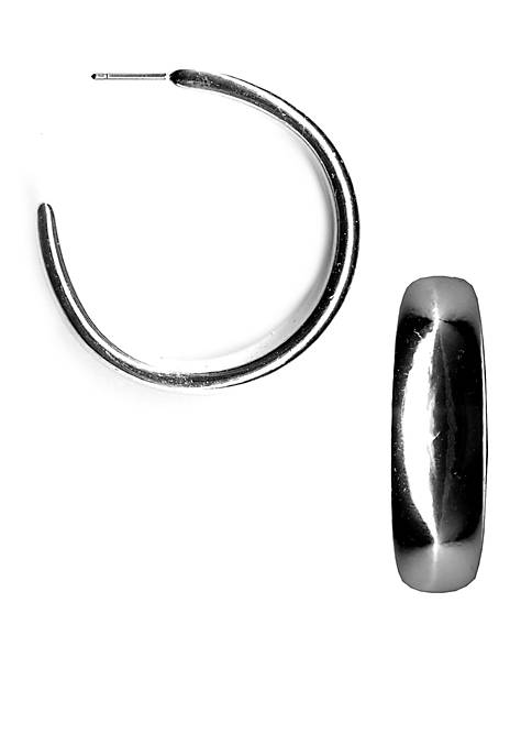 Kim Rogers® Silver-Tone Sensitive Skin Hoop Earrings