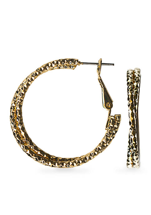 Gold-Tone Sensitive Skin Twist Hoop Earrings