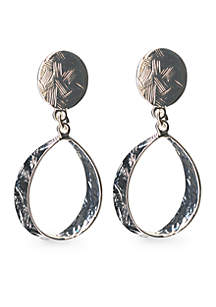 Silver-Tone Sensitive Skin Oval Drop Clip Earrings