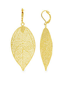 Kim Rogers® Gold Tone Sensitive Skin Etched Leaf Drop Earrings