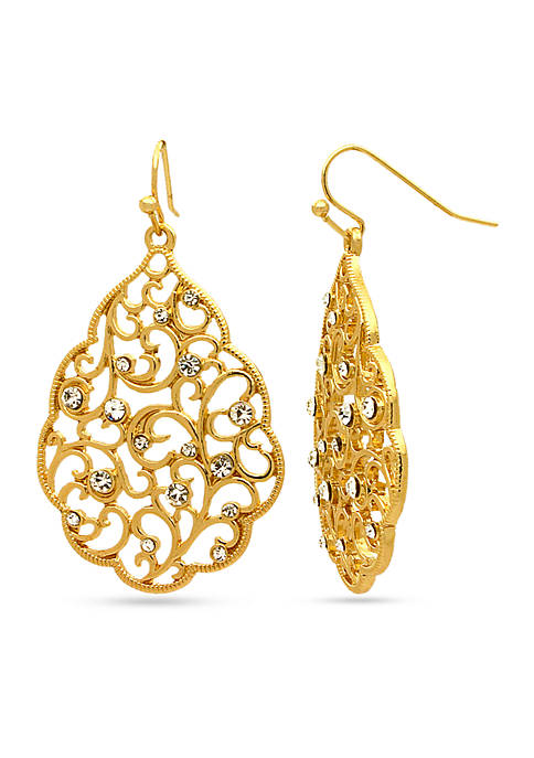 Kim Rogers® Gold-Tone Sensitive Skin Scallop Filigree Drop