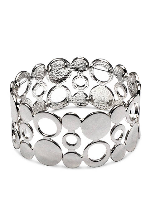 Silver Tone Sensitive Skin Circle Circus Stretch Bracelet