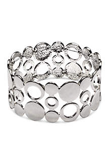 Silver-Tone Sensitive Skin Circle Circus Stretch Bracelet