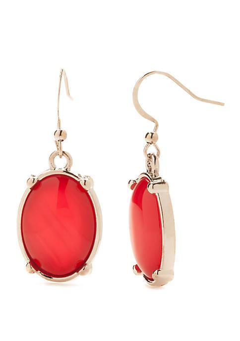 Kim Rogers® Silver-Tone Oval Drop Earrings