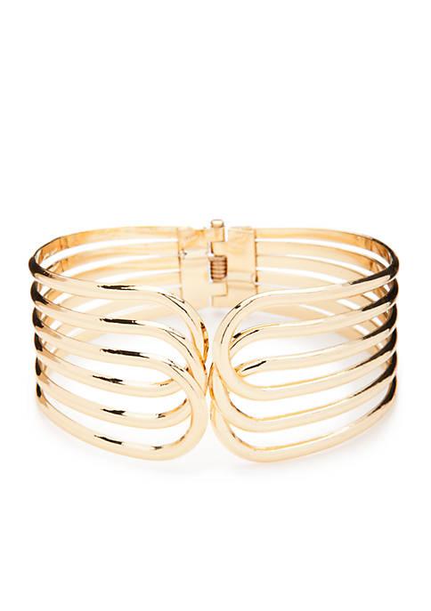Kim Rogers® Gold Tone Overlapping Bangle Bracelet