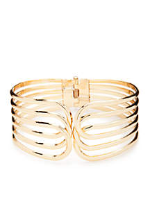 Gold-tone Overlapping Bangle Bracelet