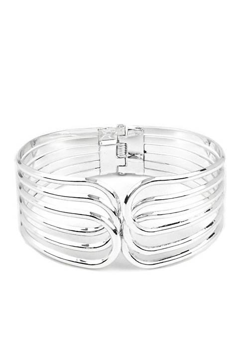 Kim Rogers® Silver-Tone Overlap Hinge Bracelet