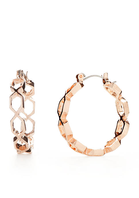 Kim Rogers® Rose-Gold Tone Twist Hoop