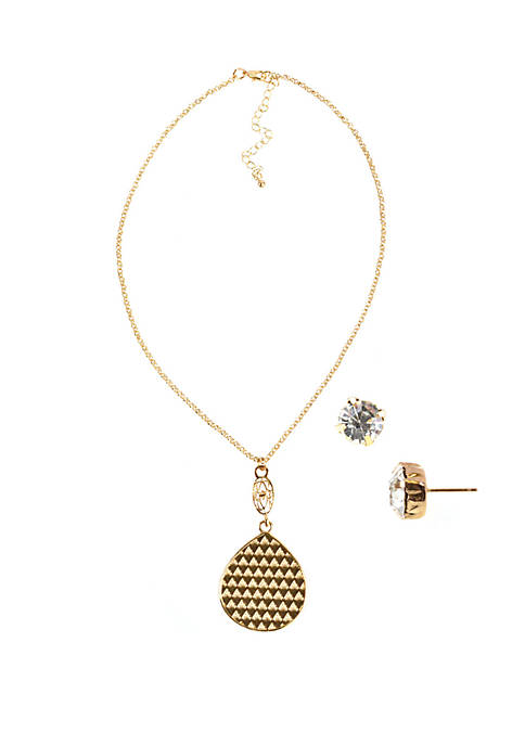 Gold Tone Textured Teardrop Necklace and Earring Set