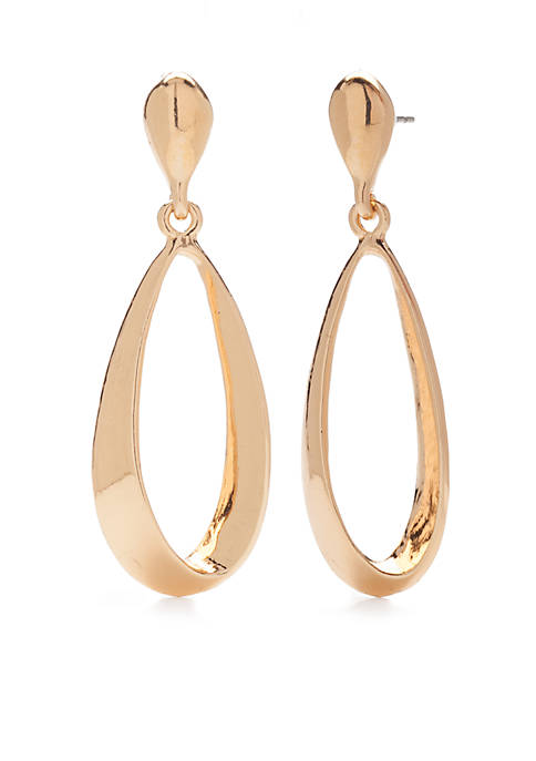 Kim Rogers® Gold Tone Twisted Open Teardrop Earrings