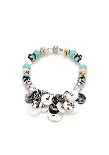 Aqua Abalone Shell Beaded Bracelet