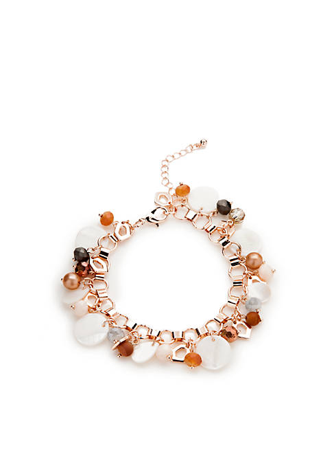 Kim Rogers® Rose-Gold Aqua Sealife Shell Shaky Bracelet
