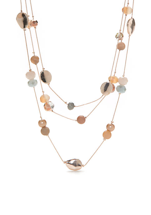Kim Rogers® Rose Gold-Tone Beaded 3 Row Necklace