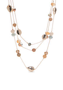 Rose Gold-Tone Beaded 3 Row Necklace