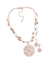 Gold-Tone Filigree Circle Necklace and Earring Set