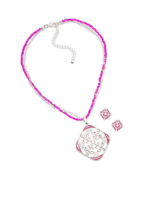 Silver-Tone Filigree Square Necklace and Earring Set