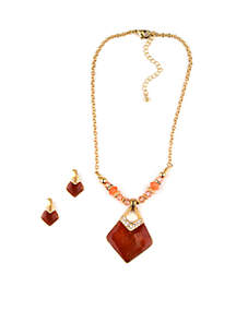Gold-Tone Diamond Earring And Necklace Set