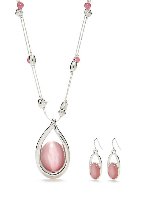 Kim Rogers® Silver Tone Open Pink Teardrop Necklace