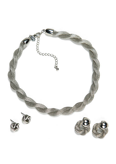 Kim Rogers® Silver-Tone Twist Mesh Necklace and Earring