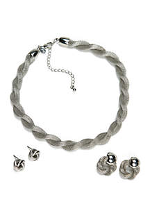 Kim Rogers® Silver-Tone Twist Mesh Necklace and Earring Set