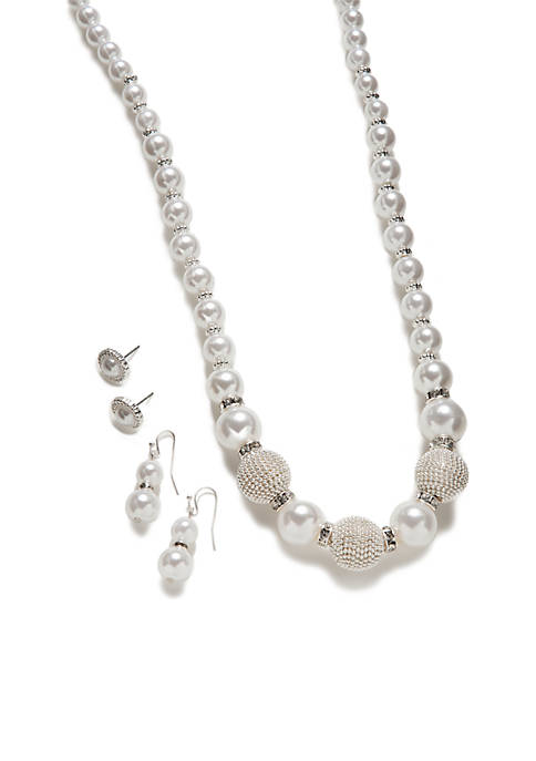 Silver Wrapped Beaded Pearl Necklace Set