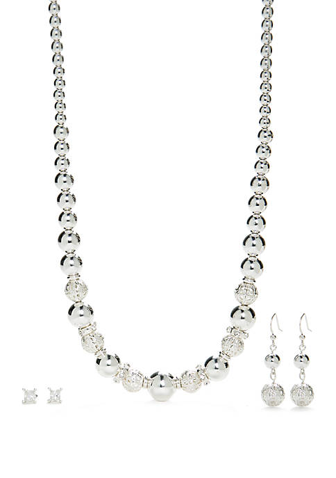 Silver Tone Beaded Necklace and Earring Set