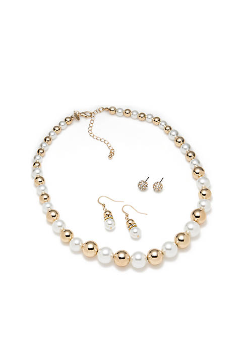 Gold Tone Pearl Necklace Set