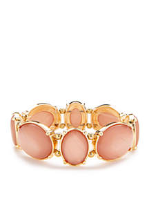 Gold-Tone Coral Circle Stretch Bracelet