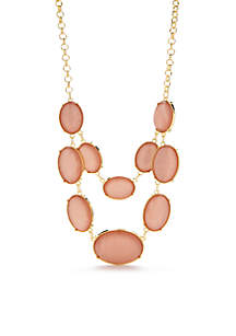 Gold-Tone Coral 2-Row Stone Necklace