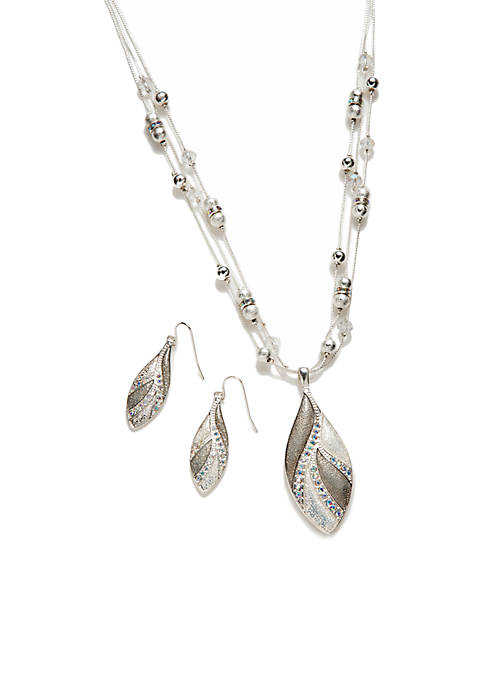 Kim Rogers® Silver Teardrop Leaf Necklace Earring Set