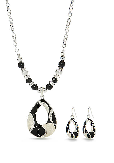 Silver-Tone Teardrop Necklace and Earring Set