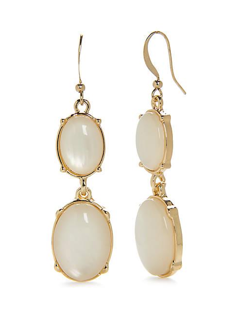 Kim Rogers® Gold-Tone Circle Double Drop Earrings