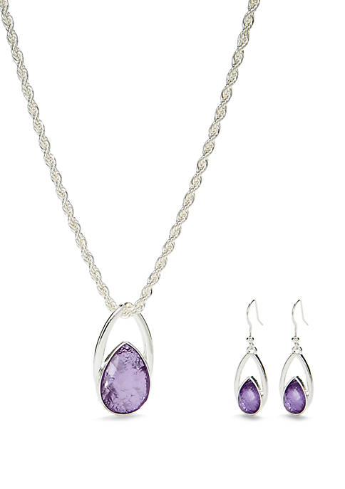 Kim Rogers® Silver Tone Open Teardrop Necklace and