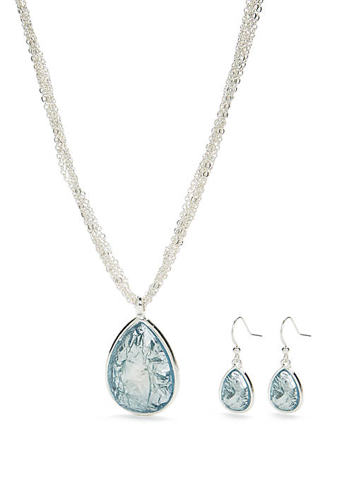 Kim Rogers® Silver Tone Teardrop Necklace and Earring